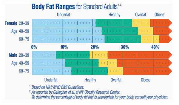 Normal Body Fat ranges for standard adults (Healthy, Obese, Over fat)